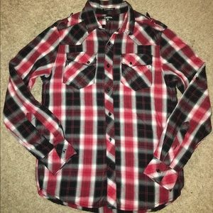 Red/black button up