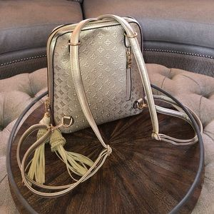Handbags - Luxurious champagne Vegan Leather backpack purse
