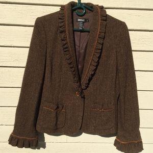 DKNY 78% wool herringbone ruffled collared jacket
