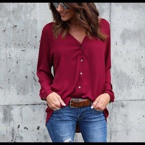 Tops - Burgundy v-neck button down top