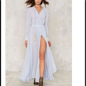 M-68 chiffon your shoulder maxi dress