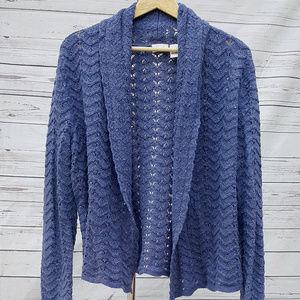 Kim Rogers blue open knit open waterfall cardigan