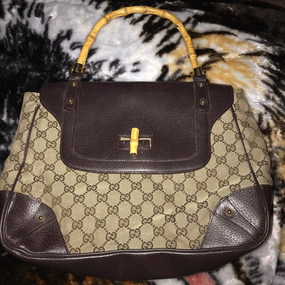 f62926a572e9 Gucci Bags | Gg Canvas Leather Diana Satchel | Poshmark