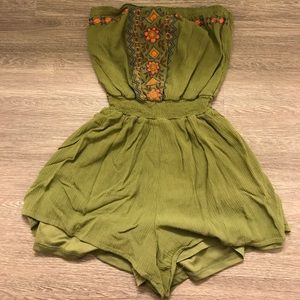 green with flowers romper