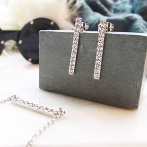 Rebecca Minkoff Silver Pave Bar Earrings