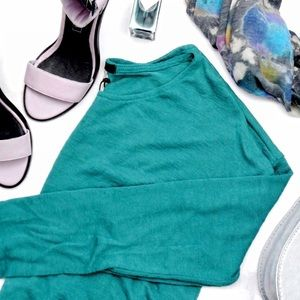 Teal Slub Knit High Low Sweater