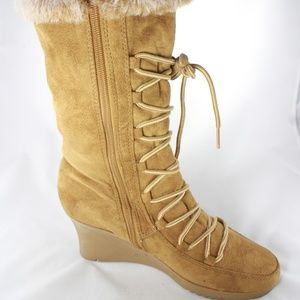 Rampage Quail Wedge Heel Faux Fur Boots Size 8M