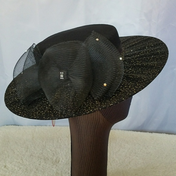 Vintage Accessories - VINTAGE SYLVIA NEW YORK ST LOUIS BLACK HAT