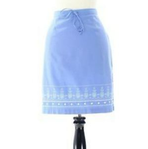NWT Christopher Banks linen blend blue skirt