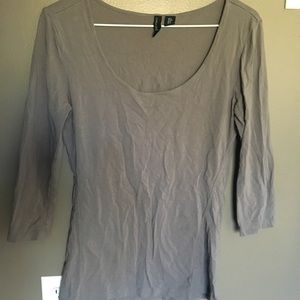 Taupe Gray 3/4 Sleeve Top by Cynthia Rowley