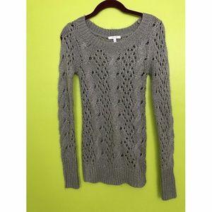 dELiA*s Rib Gray Loose Cable Knit Sweater XS