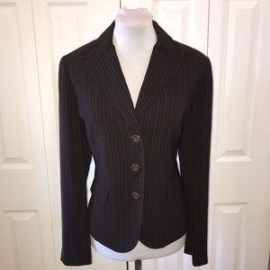 Allen by ABS Brown Pinstripe Blazer Jacket sz 8