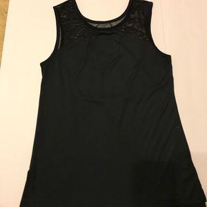 Split 59 black mesh detailed tank top