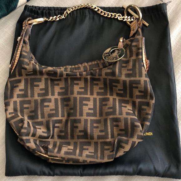 c5f9b58525 official authentic fendi zucca hobo brown gold chain bag 28f1e 86b5a
