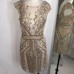 Miss Selfridge London Pink Beaded Sequin Dress