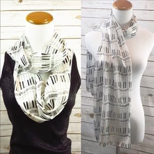 Accessories - Piano Infinity or Straight Scarf Great Gift Idea