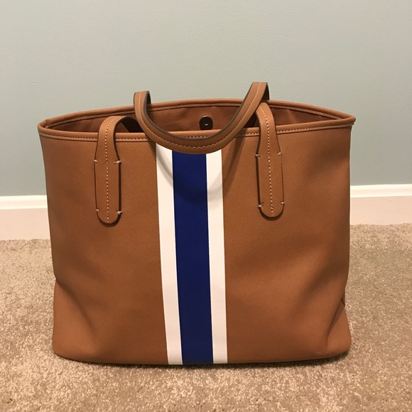 d2cdf29a06 NEELY tan with white and blue stripe tote bag