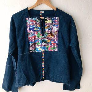 Tops - handmade embroidered vintage denim bohemian shirt