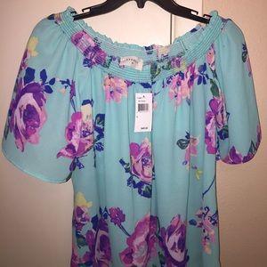 Floral off shoulder shirt