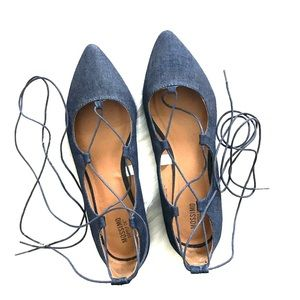 Denim Lace-up Flats