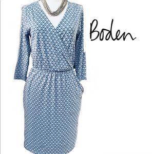 Biden blue & White Print Dress Size 2 Regular