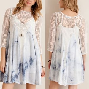 SIA Tie dye print crochet dress - SKY BLUE