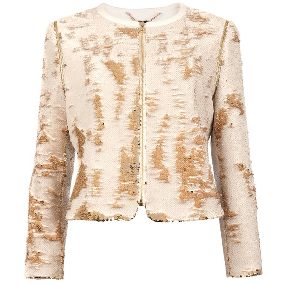 24739baba7881a TED Baker BLUBELE Sequin Gold Jacket Size 0