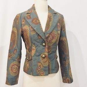  Fitted Shimmering Grey & Gold Brocade Blazer
