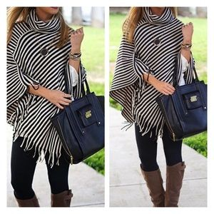 Accessories - New Arrival- Chic Black and Beige Striped Poncho