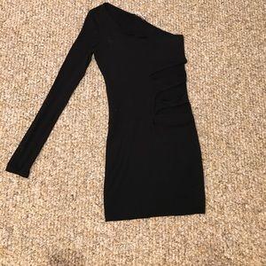 Tight fitted black mini dress