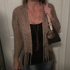 RUE 21 long fringed sweater.
