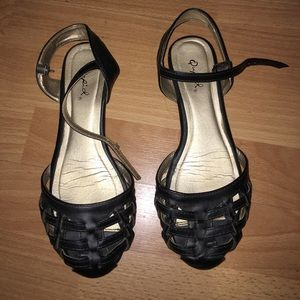 basket weave point toe ankle strap flats/ sandals