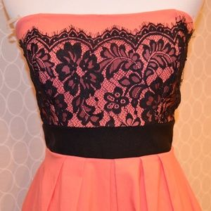 Mystic Brand Coral Dress with Black Lace Details