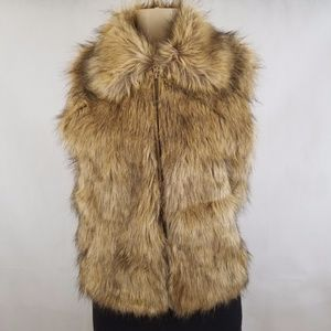 New INC Women's  Collared Faux Fur Vest Size S/M