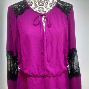 Thalia Sodi size large Berry Black Lace blouse