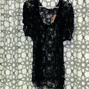Unique Black Lace Top Size 2X Embellished
