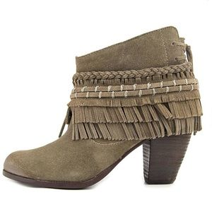 Naughty Monkey In Lyne Taupe Fringed Booties