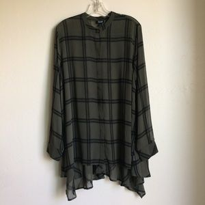 ANA Green with Black Plaid Hi Low Top Size XL