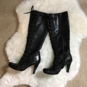 Steven black leather knee-high lace up  boots 7