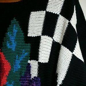 122d67d1e96f Vintage Sweaters - Vintage 80s sweater black red rose checker padded