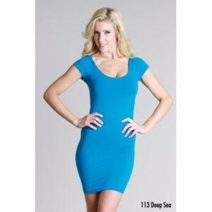 Blue Cap Sleeve Scoop Neck Seamless Dres
