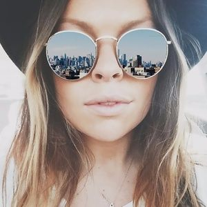 Accessories - Mirror Reflective Round Frame Sunglasses
