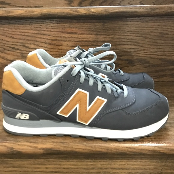 brand new 2028a 73ec2 Mens New Balance 574 Lux Navy/Tan Running Shoes 9