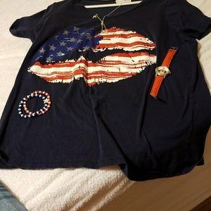 Fashion Bug XL tee with flag short sleeve