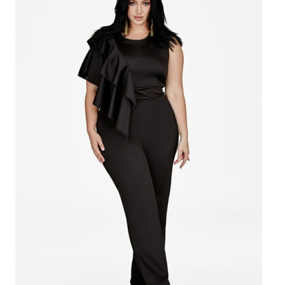 Ashley Stewart Pants Ruffle Black Jumpsuit Poshmark