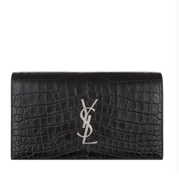 Yves Saint Laurent Bags   Ysl Black Croc Embossed Kate Clutch   Poshmark c18a7dcaa5