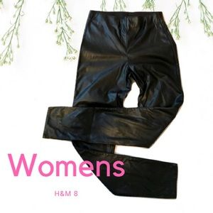 H&M Black 'Leather' Straight Leg Pants