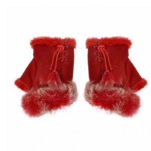 Red Faux Suede Fingerless Gloves