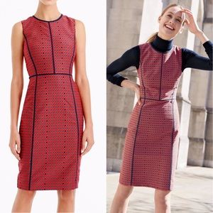 J. Crew Paneled Sheath Dress in Crimson Foulard 0