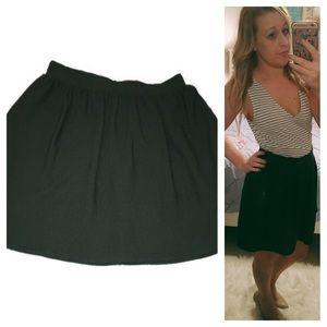 Hunter green textured flare skirt